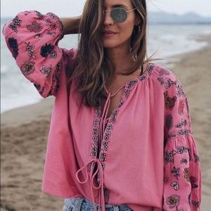 Zara Boho Embroidered Flounce Jacket Shirt
